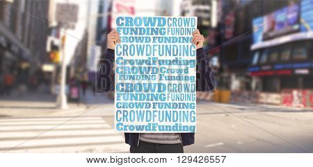 word crowdfunding against white background against composite image of man showing billboard in front of face
