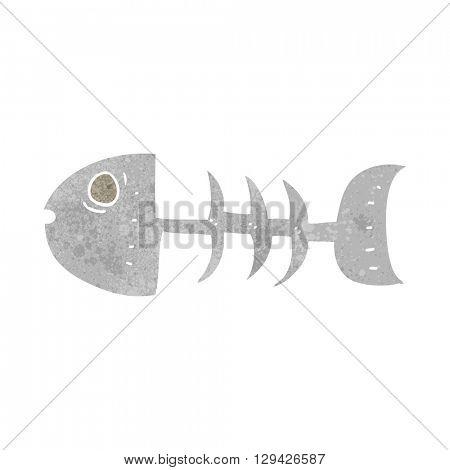 freehand retro cartoon fish bones