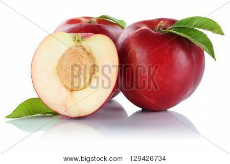 Nectarine Nectarines Fruit Fruits Isolated On White