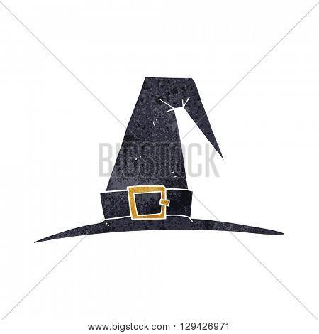freehand retro cartoon witch hat