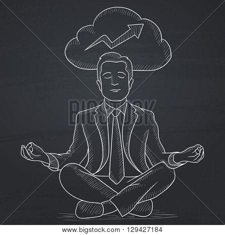 Peaceful businessman meditating.