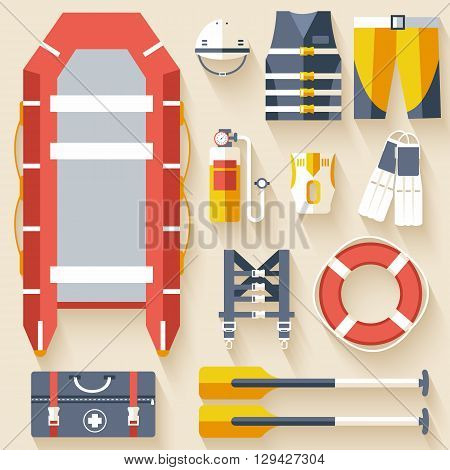 Emergency Service Paramedic Lifeguard Equipment Tools. On Flat Style Background Concept. Vector Illu