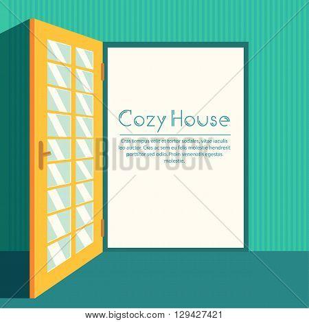 Vintage Living Colorful Open Door On House Background Illustration Concept. Vector Illustration For
