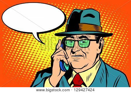 business boss Director says on the phone pop art retro style. The head of the company businessman. Retro businessman vector