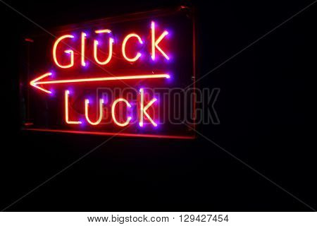 Gluck Luck sign taken in Amsterdam. This means Good Luck in German