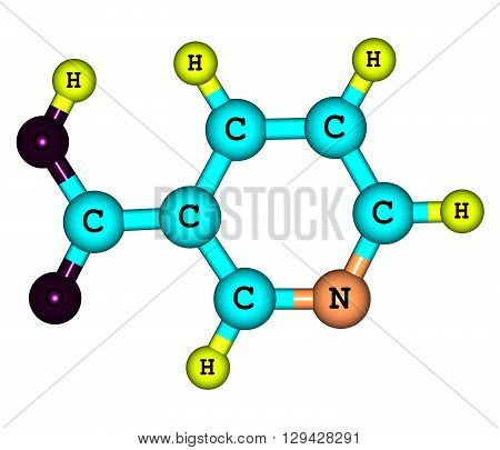 Niacin - B3 or nicotinic acid - is an organic compound with the formula C6H5NO2. 3d illustration