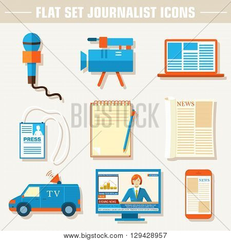 Flat Set Of Equipment For Journalism Background Concept