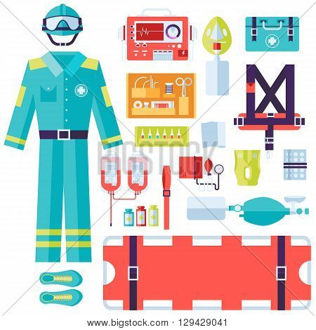 Medical Rescue Uniform And Set First Aid Help Equipment And Instruments. On Flat Style Background Co