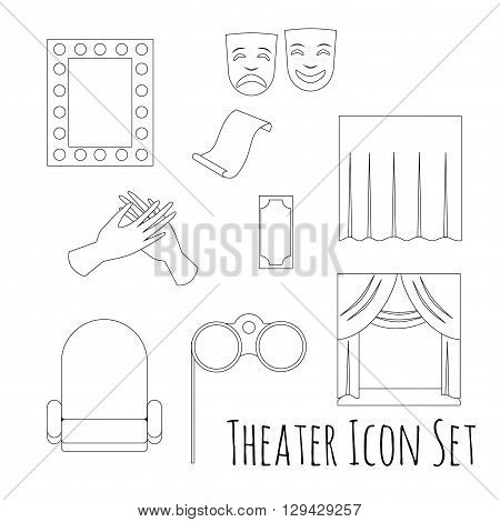 Theatre acting performance icons set with  ticket masks flat isolated on white background.