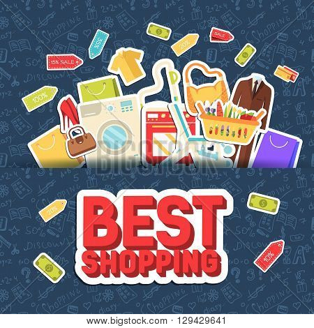 Many Object Purchased In The Shop. Shopping Abstract Background Concept. In Flat Sticker Style Icons