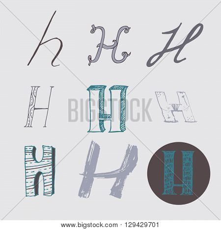 Original letters H set isolated on light gray background. Alphabet symbols editable hand drawn creative in different variations Italic 3d freehand drawn with brush and nib vector Illustration