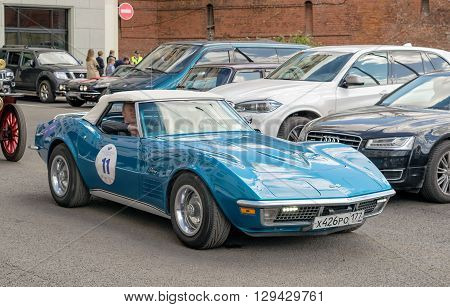 Moscow Russia - April 24 2016: Retro cars rally named after Ingosstrakh Exclusive Classic Day. Chevrolet Corvette C3 Stingray.