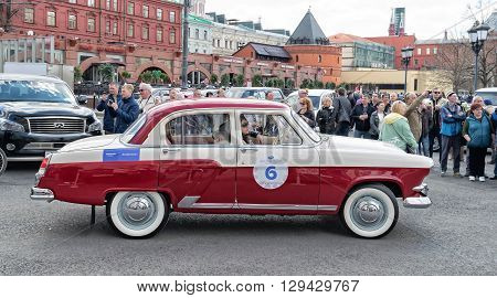 Moscow Russia - April 24 2016: Retro cars rally named after Ingosstrakh Exclusive Classic Day. MG GAZ M21 (Volga) car.