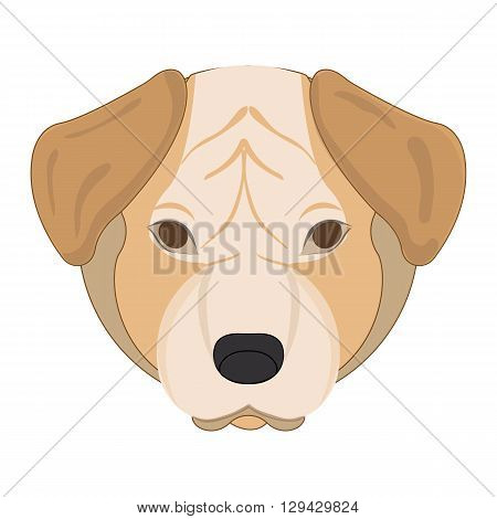 Vector illustration of a dog head on white background. Mastiff.