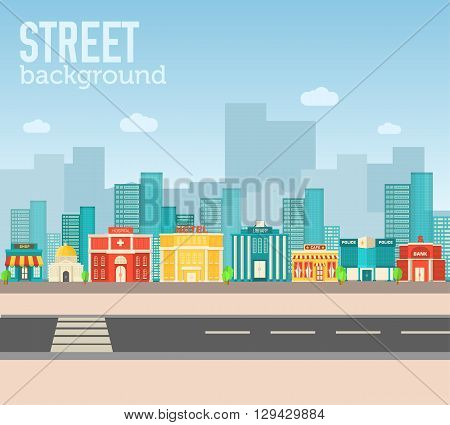 Flat Colorful Vector Sity Buildings Set