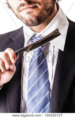 Businessman And Razor