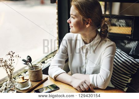 Young Girl Cafe Relaxation Contemplation Leisure Concept