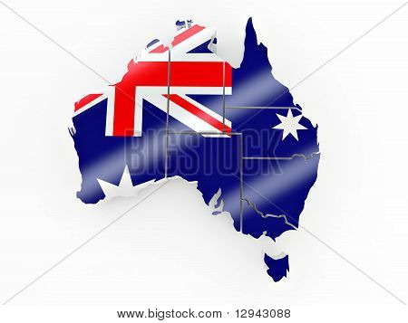 Map Of Australia In Australian Flag Colors