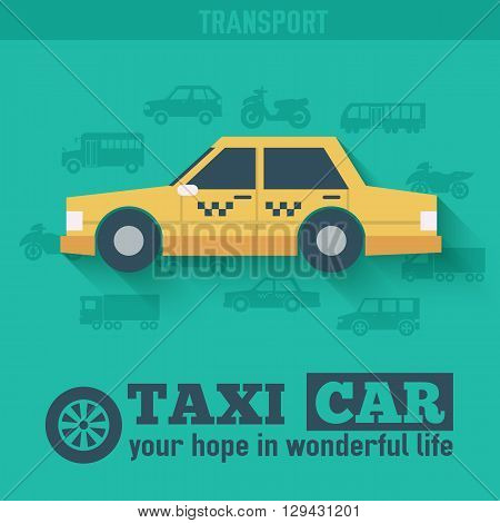Flat Taxi Car Background Illustration Concept