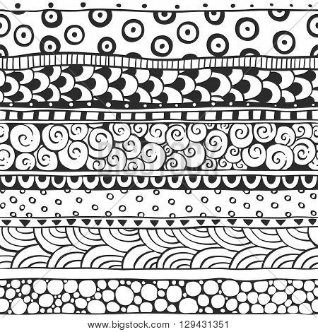Seamless ornament from the semi-circles and circles in ethnic style black and white