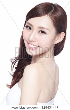 Beauty woman with charming smile to you with health skin teeth and hair isolated on white background asian beauty