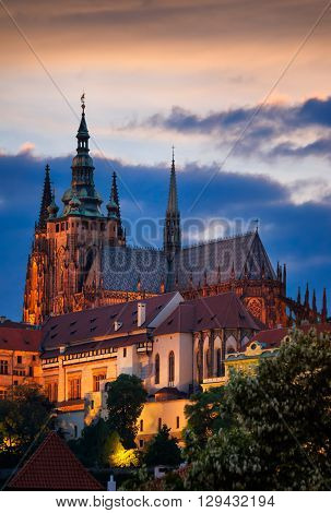 Majestic St. Vitus Cathedral during cloudy sunset Prague Czech republic