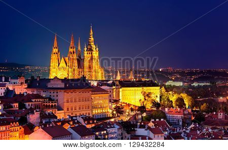 Majestic St. Vitus Cathedral during night Prague Czech republic