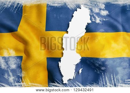Silhouette Of Sweden Map With Flag