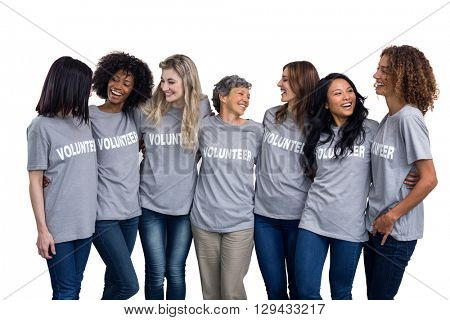 Portrait of volunteers standing together on white background
