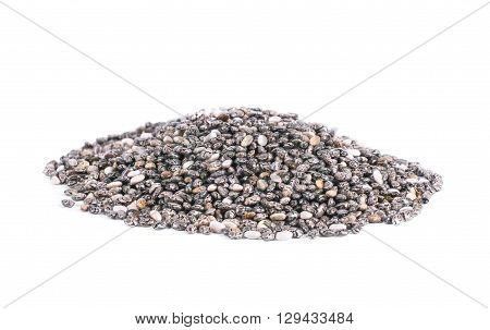 A pile of chia seeds isolated on white background. Selective focus.