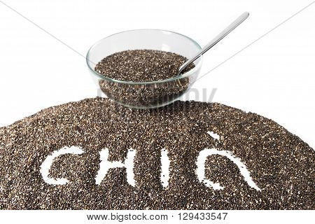 Chia seeds isolated on white background. Selective focus. ** Note: Shallow depth of field