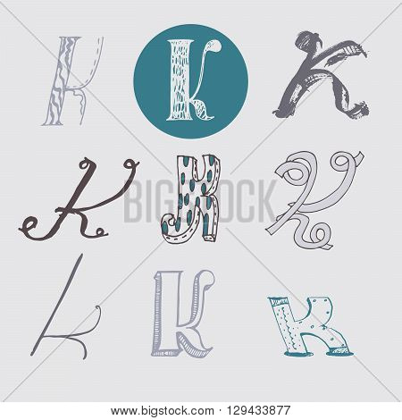 Original letters K set isolated on light gray background. Alphabet symbols editable hand drawn creative in different variations Italic 3d freehand drawn with brush and nib vector Illustration