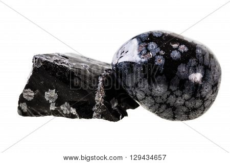 Obsidian Stones On White