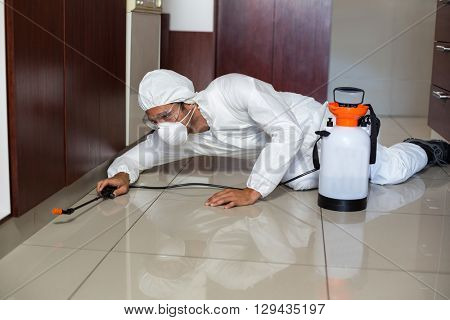 Pest worker using sprayer in kitchen while lying on floor