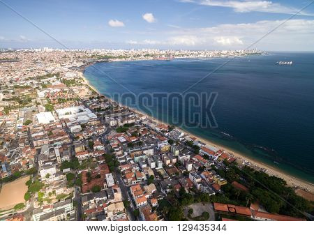Aerial View of Salvador Coastline, Bahia, Brazil
