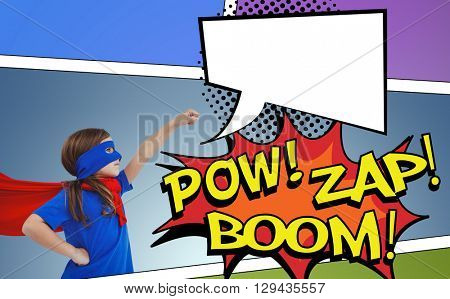 Masked girl pretending to be superhero against speech bubble