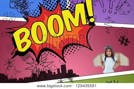 Standing girl with fake wings pretending to be pilot against the word boom