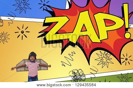 Smiling boy pretending to be pilot against the word zap