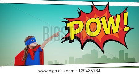 Masked girl pretending to be superhero against the word pow