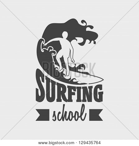 Surfing School Logo Or Label Design Template With Man On Surfboard. Can Be Used For T-shirt, Sticker