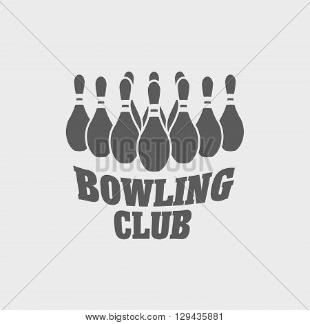 Bowling Club Logo, Label Or Symbol Design Template With Bowling Pins