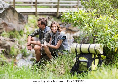 Young couple relaxing on rock amidst grass in forest