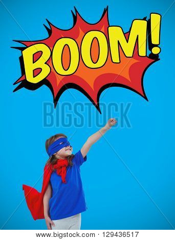 Masked girl pretending to be superhero against blue background with vignette