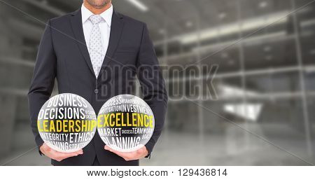Businessman standing with hands out against modern room overlooking city