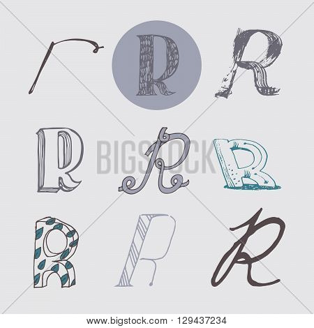 Original letters R set isolated on light gray background. Alphabet symbols editable hand drawn creative in different variations Italic 3d freehand drawn with brush and nib vector Illustration