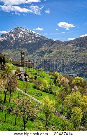 Peglio (Lago di Como) landscape with Chiesa di S. Eusebio