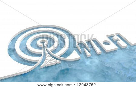 Wi Fi Network Symbol . Mobile gadgets technology relative image. 3D rendering. Cut out wi fi text