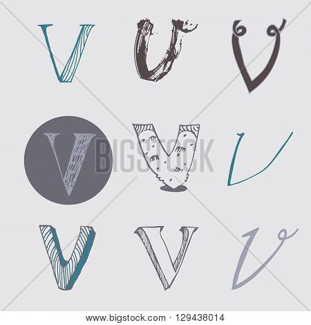 Original letters V set isolated on light gray background. Alphabet symbols editable hand drawn creative in different variations Italic 3d freehand drawn with brush and nib vector Illustration