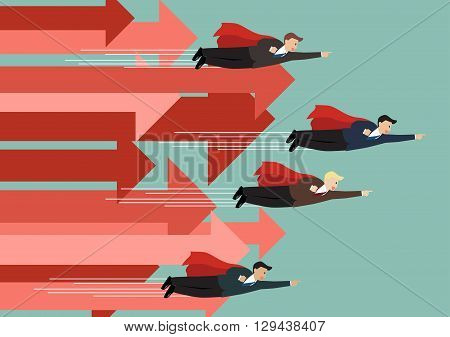 Businessman superhero fly competition with group of arrows in the same direction. Business concept