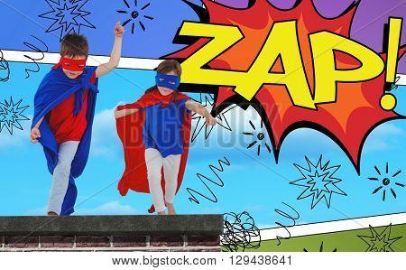 Masked kids walking pretending to be superheroes against the word zap